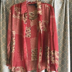 🌟IMPRESSION 2pc (tank/shirt) XL Red/Tan/flowers